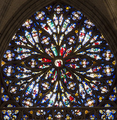 Roue, Saint-Ouen Abbey Rose Window (Stan Parry) Tags: france abbey architecture troyes jesse gothic medieval rouen normandy middleages gothique abbaye rosewindow moyenage saintouen 2013 canon5dii