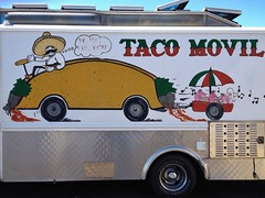 Joy Ride (misterbigidea) Tags: street urban food signs art kitchen sign mobile truck wagon landscape happy moving artwork mural driving onthego letters cartoon scenic shrimp mario mexican taco hotwheels meal handpainted driver hungry spicy sombrero lettering trailer mustache stockton taqueria picante signpainter vrooom tacomobile