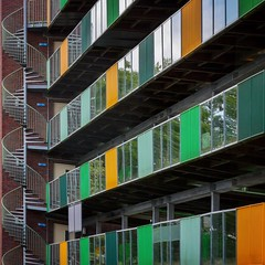 Escapism (Paul Brouns) Tags: square paulbrounscom paulbrouns house urban geometry rhythm lines holland colorful colors netherlands arnhem building residential architecture balcony balconies fireescape stairs