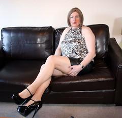 CHIX2 (Jenny Gloria Williams) Tags: transvestite transgendered tranny tg transvestie trannie stockings higheels holdups nylons animalprint crossdresser crossdressing crossdressed crossdress seams miniskirt leatherskirt leather