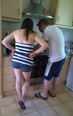 Spain 2016 - July 2016 - Nokia Lumia 1020 - Lisa and Stuart make poached eggs... (TempusVolat) Tags: gareth wonfor tempusvolat garethwonfor tempus volat mrmorodo holiday spainholiday spain 2016 spain2016 vacance summer lisa wife short shorts girl woman lovely brunette kitchen brother man cook cooking eggs poached poachedegg egg boobtube