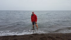 Fred's venture into the Arctic Ocean; there was no full Polar Bear Plunge for either of us -- too cold!