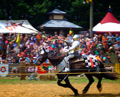 Jousting at the Renaissance Faire (` Toshio ') Tags: toshio renaissancefaire renaissancefestival renfest maryland knight horse jousting medieval fujixe2 xe2 crowd people