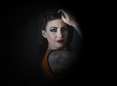 Rhiannon (garlick.rachel) Tags: tattoos profile people girl lady woman pose light orange studio
