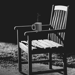 sitting in the morning sun - 252/366 (auntneecey) Tags: monochrome mono chair tea uplifteverybodyandupliftyourself 366the2016edition 3662016 day252366 8sep16 hmbt