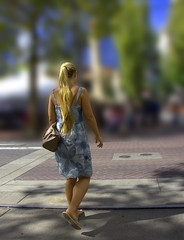 Facing Uncertain Future (swong95765) Tags: art woman female lady blonde walk cross future facing toward fuzzy unclear