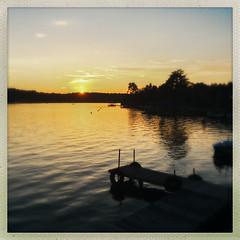 Losing The Sun Over Kauneonga Lake (Catskills Photography) Tags: sunset sun sky clouds lake landscape iphone6 hipstamatic hss