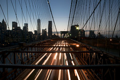 City lights (Karmatoburn) Tags: sunset skyline city nyc brooklyn bridge night lights usa long exposure