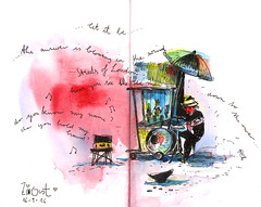 old singer with magical voice (connykunze) Tags: man old songs beatles voice nice zingst mv watercolor band marionetten sketchbook
