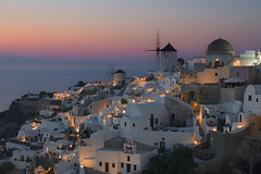 The aftermath of a Santorinian Sunset (billpeppasphotography) Tags: santorini santorine oia ia thira fira cyclades kyklades greece hellas island sunset setting dusk blue hour bluehour golden goldenhour set sun house houses home homes white orange sea ocean mediterranean water aegean windmill windmills