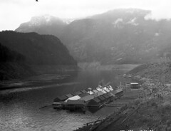 Logging camp on Ross Dam Reservoir, 1947 (Seattle Municipal Archives) Tags: seattlemunicipalarchives skagit skagitproject logging workerhousing northcascades cascades cascademountains mountains lakes 1940s