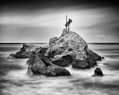 Mussel Rock (Ron Rothbart) Tags: ocean sanfrancisco california longexposure blackandwhite bw seascape water monochrome rock pacificocean dalycity pacifica seacoast musselrock 10stopfilter ndneutraldensityfilter
