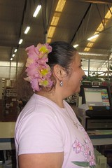 Orchids in Cyndi's hair (BarryFackler) Tags: life flowers plants plant orchid flower nature garden botanical island volcano hawaii polynesia petals flora orchids blossom gardening blossoms hawaiian tropical bloom bigisland blooms botany biology horticulture puna kamaaina volcanohi hawaiicounty hawaiiisland 2013 volcanohawaii akatsukaorchidgardens barryfackler barronfackler our23rdanniversary
