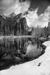 3 Brothers in clouds (Oilfighter) Tags: bw reflection clouds river nationalpark yosemite yosemitevalley mercedriver 3brothers canon1635mm yosemitewinter yosemitesnow canon5dmarkiii leegraduatedndfilter