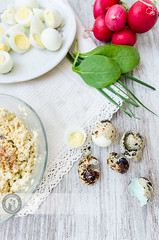 Quail Eggs Paste 02 (Cristian Sabau | Photography) Tags: wood food vertical photography leaf raw rustic nopeople indoors slice snack romania half buffet transylvania foodanddrink chive quail healthyeating boiledeggs quailegg colorimage highangleview animalegg