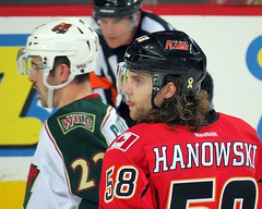 Ben Hanowski - 1st NHL Game (5of7) Tags: male sports hockey tongue nhl profile numbers frombehind athlete helmut visor calgaryflames 58 benhanowski