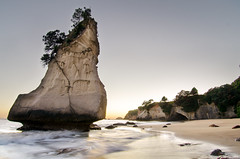 Dawn at Cathedral Cove (KáriK) Tags: new longexposure trees sea summer cliff beach forest sunrise landscape dawn nikon long exposure flickr cathedral cove award before zealand tropical cave lon nikkor 1224mm f4 afs coromandel d7000 flickraward5 flickrawardgallery
