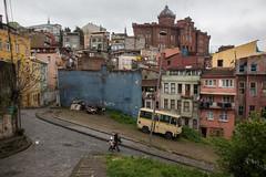 Bus nach Balat (grapfapan) Tags: street houses urban bus turkey cityscape facades istanbul habitat coloured balat