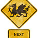 Crossing Road Grunge Sign - Welsh Dragon