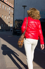 Red (ockie50) Tags: street leica shadow red woman candid streetphotography jeans frombehind summicron35 leicam9 summicronm352asph