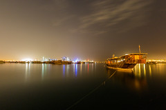 * (Timos L) Tags: longexposure night harbor nightlights nightshot fisheye panasonic g3 doha qatar dhow 75mm m43 timos samyang defished micro43