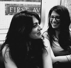 funny girls (omoo) Tags: newyorkcity girls bw subway manhattan streetscene ltrain stuyvesanttown girlfriends firstavenue smilinggirls happygirls funnygirls lline bwphotograph dscn1720 largerimage
