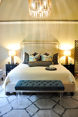 Drummond Master Bedroom (evaru design) Tags: yellow gold hotel teal headboard masterbedroom upholstered lucite