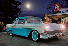 Peaceful E-ZZ Feeling .... (Rat Rod Studios) Tags: hotrod zztop bobsbigboy 56chevy billygibbons longbeards driveindiners