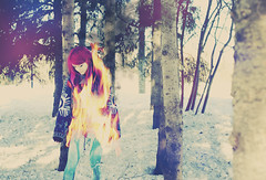 Burn Beautiful (andreannelupien) Tags: pink trees winter girl forest fire smoke surreal piercing burning creation burn imagination create concept conceptual dye ideas pinkhair legging dyehair infire