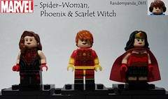 Spider-Woman, Phoenix & Scarlet Witch (Random_Panda) Tags: phoenix scarlet comics book comic lego fig witch character books super hero figure superhero characters heroes minifig minifigs superheroes marvel figures figs minifigure spiderwoman minifigures