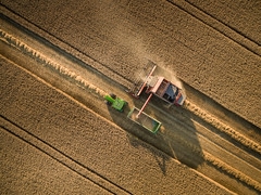 Reap II (Draws_With_Light) Tags: england unitedkingdom gb vegetation aerialphotography vehicles landscape season tractor agriculture northyorkshire drone combineharvester scene fields djiphantom3advanced summer camera wheatfields york places harvesting activity