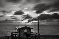 Drifting away (markus.homann) Tags: westerland northsea sylt blackwhite sky baywatch sunset nikkor50mm18ai nikond700 beach ocean seascape sea