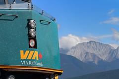VIA Rockies (Moffat Road) Tags: viarail f40ph3 6414 locomotive train passengertrain viarailcanada detail mountains canadianrockies jasper alberta canada ab via emd headlights logo