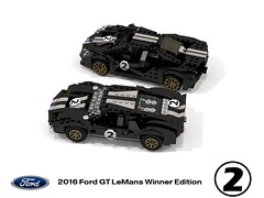 Ford GT LeMans Winner Edition (2016) (lego911) Tags: ford gt supercar lego 2016 lemans winner edition coupe ecoboost turbo v6 50th anniversary celebration 1966 v8 classic 2010s stripe auto car moc model miniland lego911 ldd render cad povray lugnuts challenge 106 exclusiveedition exclusive usa america racer endurance