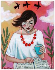 Swept Away (Regina Lord (creative kismet)) Tags: art painting girl woman drinkingcoffee tea coffee reading acrylicpainting sunset sweptaway rednecklace blackbirds clouds cloudysky artbyreginalord