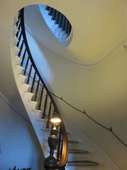 Beautiful Victorian Staircase (amyboemig) Tags: victorian stairs spiral white wood rope railing banister lamp