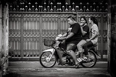 One Guy And Two Ladies #0173-2 (svenpetersen1965) Tags: bangkokstreet alley fence motorbike motorcycle street transport   bangkok krungthepmahanakhon thailand th