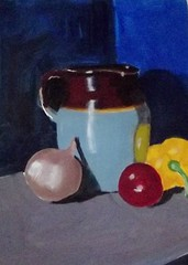 Pitcher with vegetables (BonnieBuchananKingry) Tags: paintings acryllicpainting stilllife pitcher crock onion tomato pepper vegetables pot