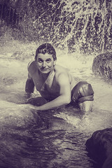 Tarzan (sebastienloppin) Tags: portrait waterfall extrieur exterieur outdoor tarzan watefall sit wild manvswild black white blackandwhite
