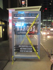 Narcos Bus Shelter Pile O Money AD - UPDATE They stole the fake money 5520 (Brechtbug) Tags: narcos bus shelter pile o money ad tv show stop with piles slightly singed real fake or is it 2016 nyc image taken 09172016 midtown manhattan new york city 49th street 7th ave st avenue moola bogus update they stole