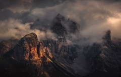 Breakthrough (@hipydeus) Tags: dolomites mountains clouds light ray mystic