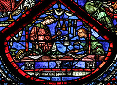 Vanitas - Medieval Merchant (Lawrence OP) Tags: chartres cathedral stainedglass windows seasons labour belt leather seller vendor merchant unesco medieval