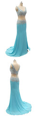 Homecoming Dress (provencelavender) Tags: mermaid vneck sweep train blue chiffon splitfront homecoming dress with beading
