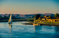 Early Morning on the Nile (gwpics) Tags: ferry landscape dawn dhow hills morning palm nile travel felucca village sunlight egypt boat lifestyle horizontal egyptian transport transportation