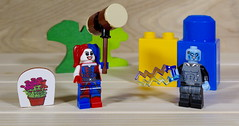 Electro Man thinks a couple of shock treatments would straighten Harley out (MuTant 99) Tags: home toys lego minifigures harleyquinn electroman pentaxk3 camerautility5