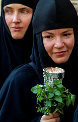 Sisters Of Mercy (ybiberman) Tags: israel jerusalem oldcity alquds christianquarter churchoftheholysepulchre russian nun portrait veil basil candle candid streetphotography procession theotokos virginmary