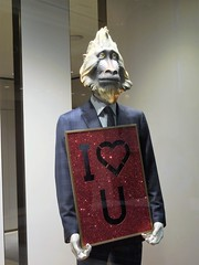 monkey man (kenjet) Tags: lv vegas nevada lasvegas 2016 yearofthemonkey chinesenewyear monkey figure man monkeyman manmonkey display love iloveyou heart window mask suit store retail