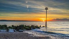 Mudeford Sunrise (nicklucas2) Tags: colour cloud sunrise seascape beach groyne isleofwight solent seaside sea sun