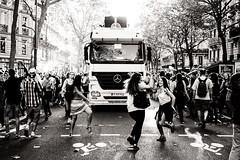Despite the state of emergency (cedhic) Tags: monochrome blackandwhite nb noiretblanc paris photorue parisienne danse technoparade fujixt10 xf35mm urban manifestation woman streetphotography fte fille