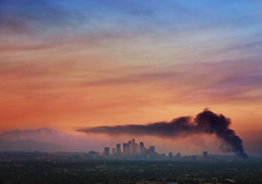 City On Fire (rcollins42) Tags: fire smoke los angeles la sunset clouds danger city skyscrapers landscape mountains sky ominous view california reid collins photography cityscape 5dmarkiii canon buildings burning